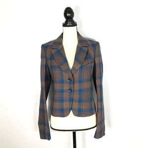 CACHAREL Brown/Blue Virgin Wool Crop Blazer-  38/6